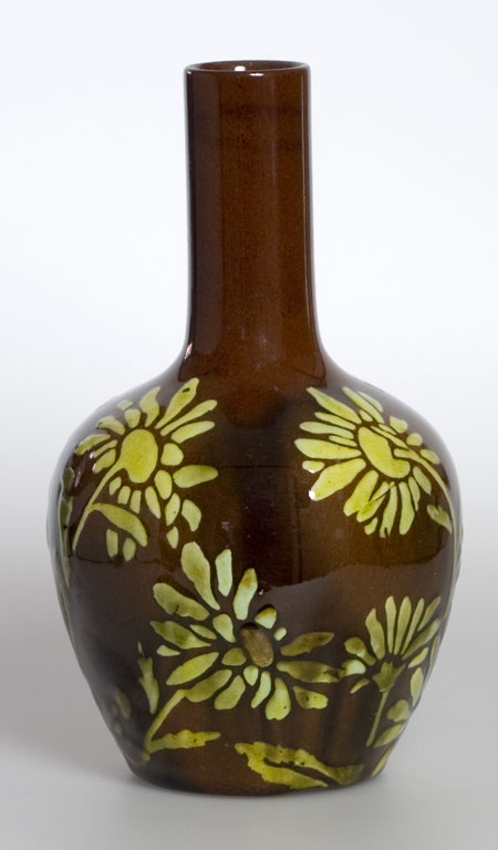 style and design art studio pottery vase brown linthorpe