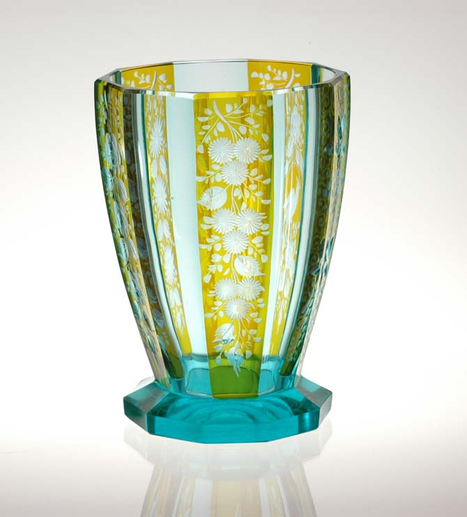 Style And Design Art Deco Bohemian Czech Cut Engraved And Flashed Glass Vase Moser Style